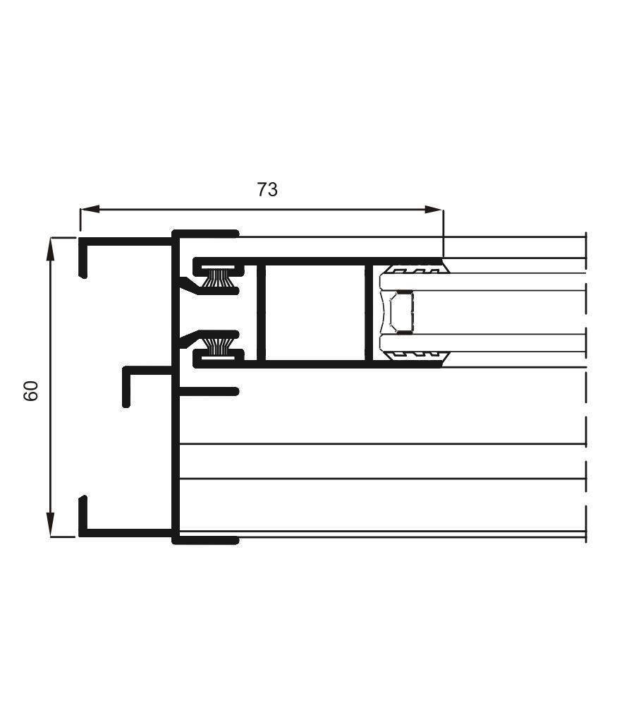 Detalle de la sección del sistema 6200 Corredera