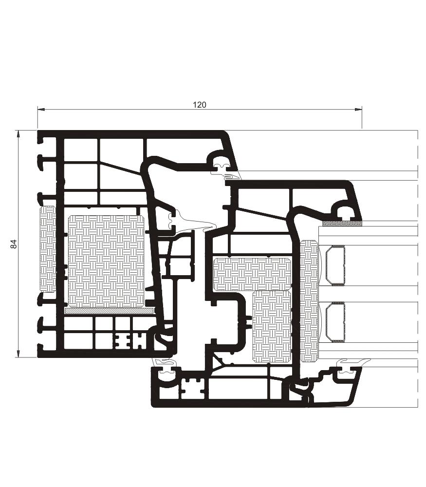 Detalle de la sección del sistema A 84 Passivhaus - PVC